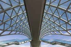 步行桥的屋顶的细节在第比利斯,乔治亚 免版税库存图片