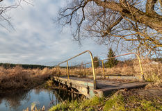 步行桥通过在沼泽地秋天多云天气的一条小河 免版税库存图片