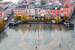 步行正方形鸟瞰图在鲁汶,比利时,在前面 免版税库存照片