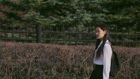 步行沿着向下胡同的韩国人在学校以后 女性审阅庭院墙壁 股票视频