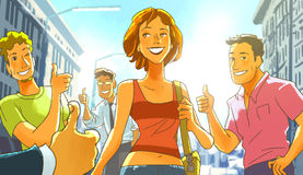 步行沿着向下街道和人的美丽的微笑的女孩在欢迎附近她 免版税库存图片