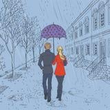 步行沿着向下街道的夫妇在雨中 向量例证