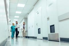 步行沿着向下走廊的医疗队在医院 免版税库存照片