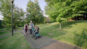 步行沿着向下路的愉快的年轻家庭外面在绿色自然慢动作充分的HD 影视素材