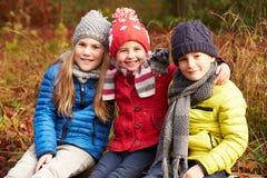 步行的三个孩子通过冬天森林地 库存图片