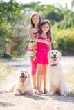 步行的两个姐妹与狗在公园 库存图片