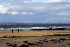 步行的好天儿在海滩 免版税图库摄影