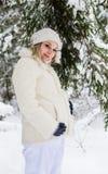 步行的孕妇在冬天森林里 库存照片