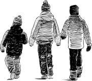 步行的孩子 库存照片