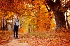 步行的逗人喜爱的儿童女孩在秋天农村路 免版税库存照片