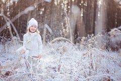 步行的逗人喜爱的微笑的儿童女孩在冬天结冰的森林里 免版税库存图片