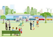 步行者和交通在城市 免版税库存照片