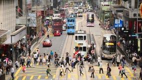 步行者和交通时间间隔在香港的中部区 股票录像