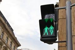 步行者和自行车车手的绿色信号光 免版税库存照片