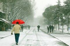 步行者在一多雪的日 库存照片