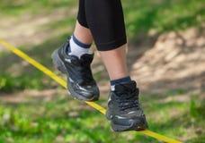 绳索步行者是在紧的吊索,是固定的在树,在低空 库存图片