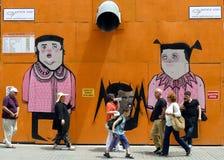 步行者沿Istiklal Caddesi漫步在伊斯坦布尔在土耳其 库存照片
