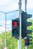 步行者的红色红绿灯信号行人穿越道的在城市 库存图片