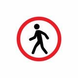 步行者禁止了标志传染媒介设计 库存图片