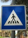 步行蓝色标志 库存照片
