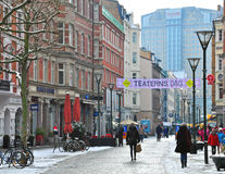 步行街道在马尔摩,瑞典 免版税库存照片