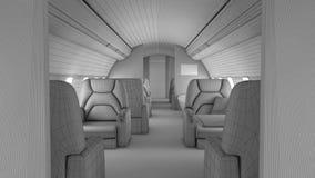 步行通过私人飞机内部 皇族释放例证