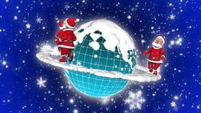 步行3D圣诞老人空间圈 皇族释放例证