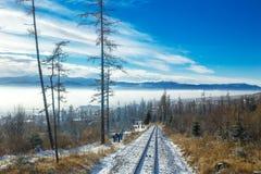 步行从Stary Smokovec的人们对Hrebienok在冬天期间 免版税图库摄影