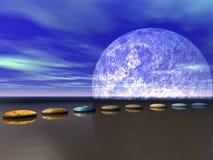 步骤和月亮白色 免版税库存照片