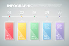 5步infographic模板 能为工作流,布局,图使用 免版税库存图片