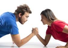 武器角力在夫妇之间 库存图片