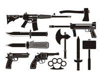武器-剪影 向量例证