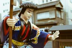 武士停车牌塑料雕塑在东京,日本 免版税库存照片
