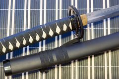 武士剑武器艺术从古老日本, katana的 免版税图库摄影