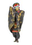 武士的人装饰了有爱好者的服装 免版税库存照片