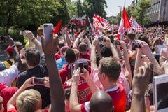 武库英格兰足总杯胜利游行2014年 免版税图库摄影
