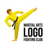 武术的商标模板棍打或健身房 免版税图库摄影