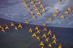 武术:第七全国城市比赛开幕式排练 免版税库存图片
