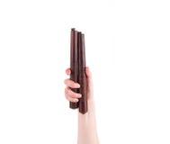 武术nunchaku武器在手中 库存照片