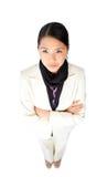 武装亚裔女实业家被折叠的年轻人 免版税库存照片
