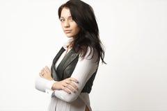武装可爱的女实业家克服她 免版税图库摄影