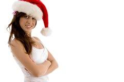 武装圣诞节女性被折叠的帽子佩带 图库摄影