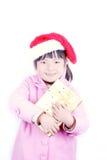 武装圣诞节礼品女孩 库存图片