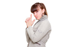 武装女孩开枪她做的年轻人 免版税库存图片