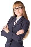 武装折叠她的女实业家 库存照片