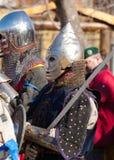 武装的中世纪骑士 库存照片