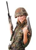 武装的军事妇女 图库摄影