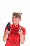武装的女孩手枪 免版税图库摄影