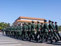武装的警察和毛主席纪念堂霍尔 库存照片