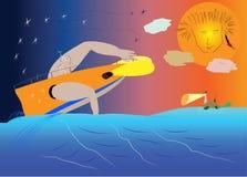 武装的鬼魂海盗,游泳在一条小船用划船手,对 免版税图库摄影